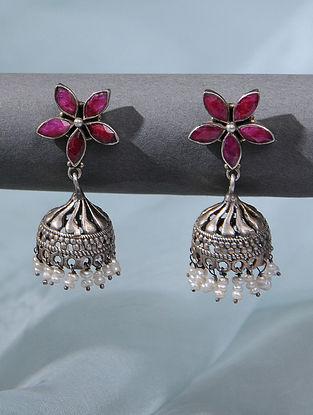 Maroon Tribal Silver Earrings