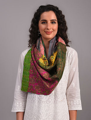 Multicolour Kantha Embroidered Silk Reversible Stole