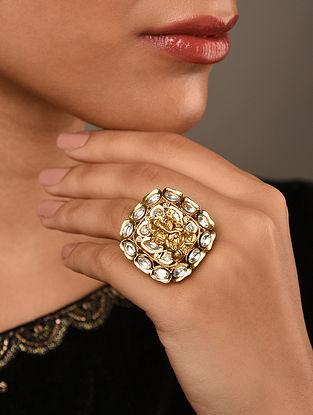Gold Tone Silver Foiled Kundan Ring