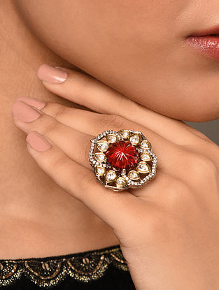 Red Gold Tone Silver Foiled Kundan Ring