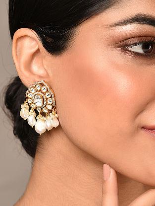 Gold Tone Silver Foiled Kundan Earrings