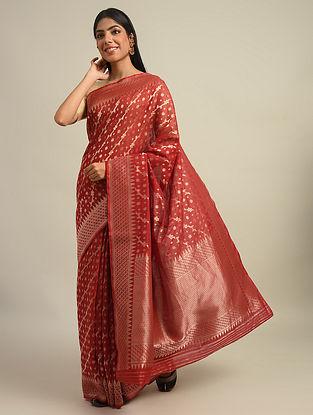 Red Benarasi Handwoven Cotton Silk Saree With Zari