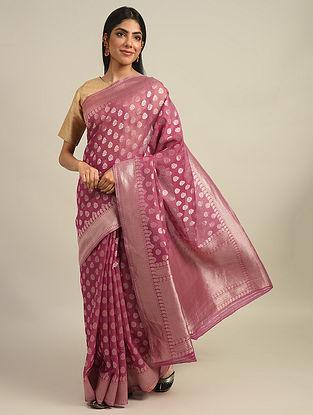 Pink Benarasi Handwoven Cotton Silk Saree With Zari