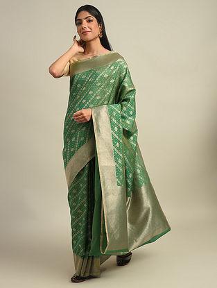 Green Benarasi Handwoven Cotton Silk Saree With Zari