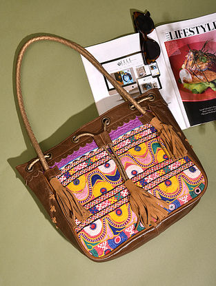 Multicolored Vintage Rabari Genuine Leather Tote Bag