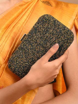 Green Handcrafted Beaded Velvet Clutch