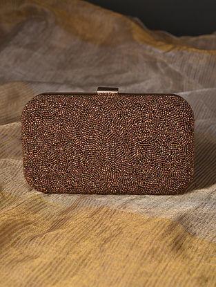 Brown Handcrafted Beaded Velvet Clutch