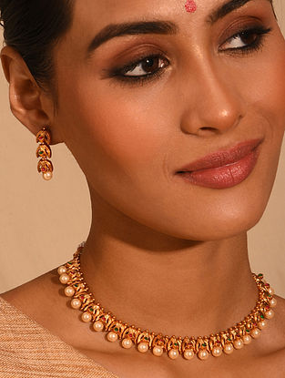 Gold Tone Temple Necklace Set With Pearls