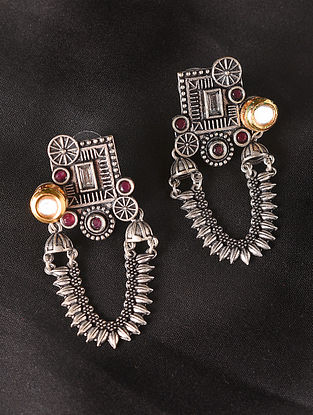 Red Dual Tone Tribal Earrings