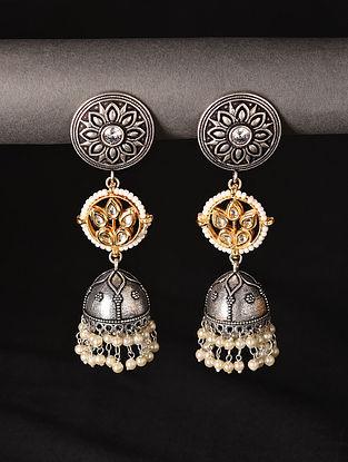 White Dual Tone Tribal Jhumki Earrings