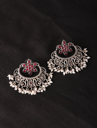 Red Silver Tone Tribal Earrings With Pearls