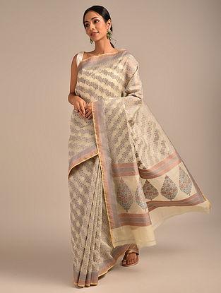 Ivory-Grey Benarasi Handwoven Cotton Saree