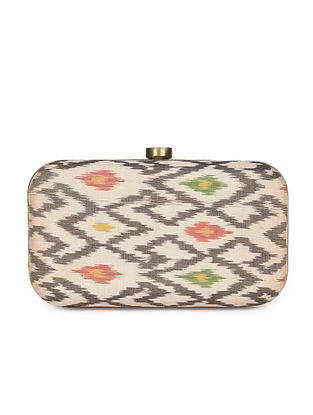 Cream Handcrafted Ikat Cotton Silk Clutch