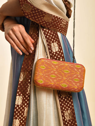 Orange Handcrafted Ikat Cotton Silk Clutch