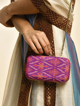 Purple Handcrafted Ikat Cotton Silk Clutch