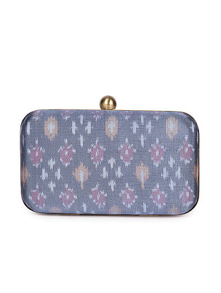 Grey Handcrafted Ikat Cotton Silk Clutch