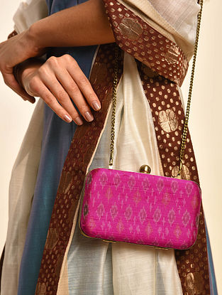 Pink Handcrafted Ikat Cotton Silk Clutch