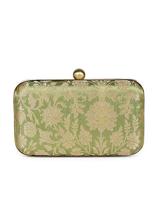 Green Handcrafted Banarasi Brocade Silk Clutch