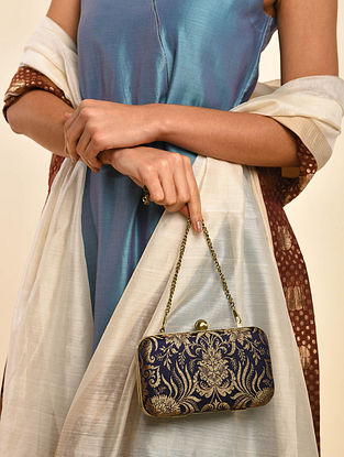 Black Handcrafted Banarasi Brocade Silk Clutch