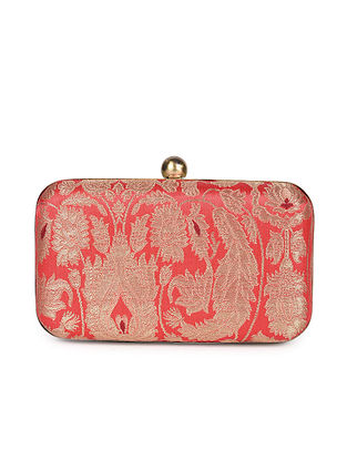 Red Handcrafted Banarasi Brocade Silk Clutch