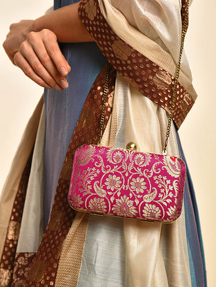 Pink Handcrafted Banarasi Brocade Silk Clutch