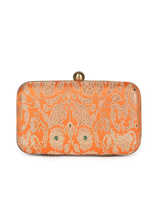 Orange Handcrafted Banarasi Brocade Silk Clutch