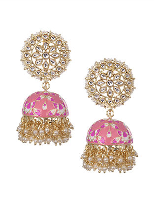 Pink Peach Gold Tone Kundan Inspired Enameled Jhumki Earrings