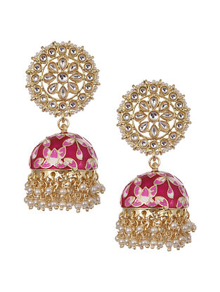 Pink Gold Tone Kundan Inspired Enameled Jhumki Earrings