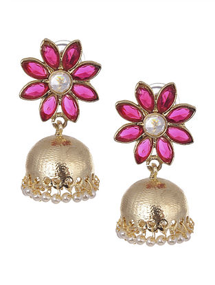 Pink Gold Tone Handcrafted Jhumki Earrings