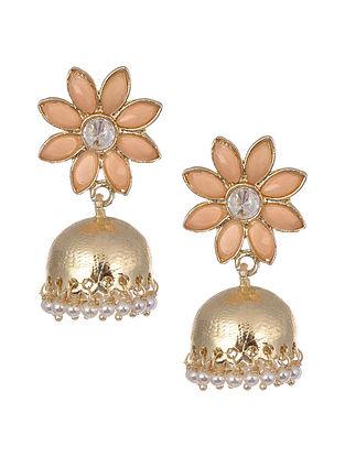 Peach Gold Tone Handcrafted Jhumki Earrings