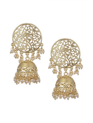 Gold Tone Handcrafted Jhumki And Earrings With Pearls