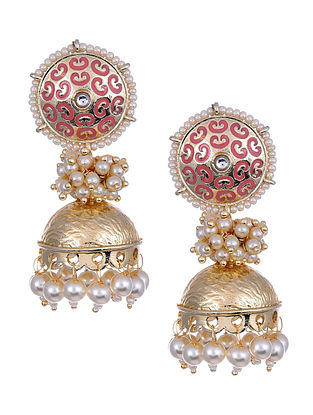 Pink Gold Tone Enameled Jhumki Earrings With Pearls