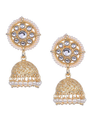 Gold Tone Kundan Inspired Beaded Earrings With Pearls