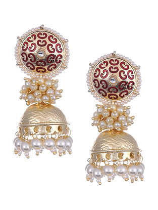 Maroon Gold Tone Enameled Jhumki Earrings With Pearls
