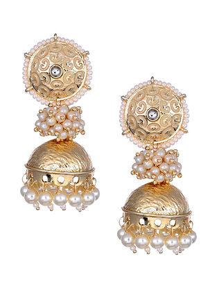 Cream Gold Tone Enameled Jhumki Earrings With Pearls