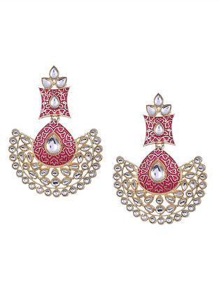 Pink Enameled Kundan Inspired Earrings