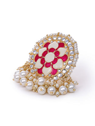 Pink Cream Kundan Ring With  Pearls