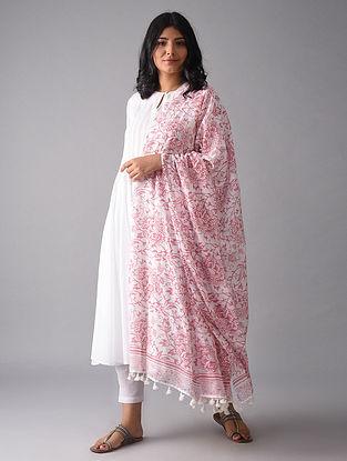 Ivory-Pink Block Printed Cotton Dupatta