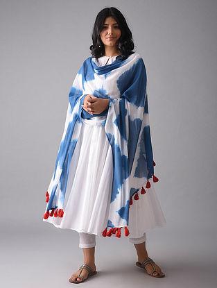 Blue-Ivory Tie and Dye Cotton Dupatta