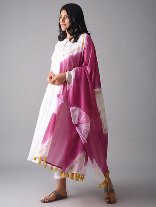 Pink-Ivory Tie and Dye Cotton Dupatta