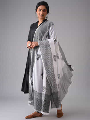 Ivory-Black Block Printed Cotton Dupatta