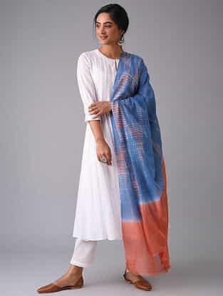 Blue-Rust Tie-Dyed Cotton Dupatta