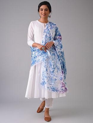 Blue-Ivory Tie-Dyed Cotton Dupatta