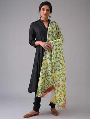 Yellow-Green Tie-Dyed Cotton Dupatta
