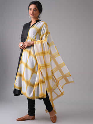 Ivory-Yellow Tie-Dyed Cotton Dupatta