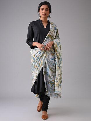 Ivory-Blue Tie-Dyed Cotton Dupatta