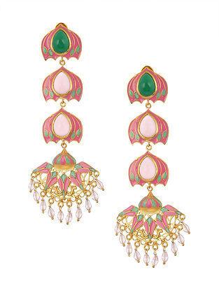 Pink Green Gold Tone Enameled Earrings