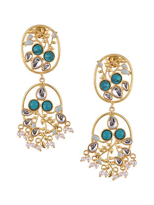 Turquoise Gold Tone Kundan Inspired Earrings With Pearls