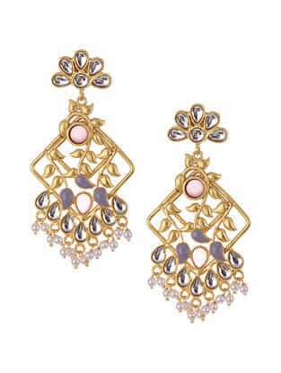 Purple Pink Gold Tone Kundan Inspired Earrings With Pearls