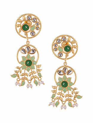 Green Gold Tone Kundan Inspired Enameled Earrings With Pearls